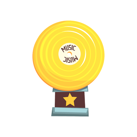 Golden vinyl record award on brown base. Trophy for outstanding achievements in music industry. Shiny figurine in form of disc. Cartoon vector illustration in flat design isolated on white background. Illustration