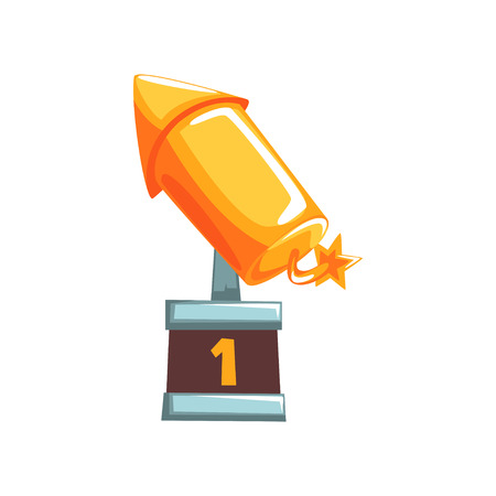 Original golden award in form of rocket with burning wick on brown base. First place symbol. Grand prize of competition in modern flat design. Cartoon vector illustration isolated on white background.
