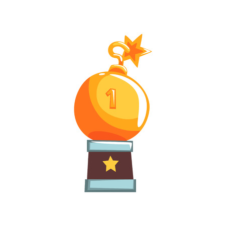 Shiny trophy in form of round bomb with burning wick. Tournament champion. Victory reward. Miniature winner souvenir in flat design. Cartoon vector illustration isolated on white background.