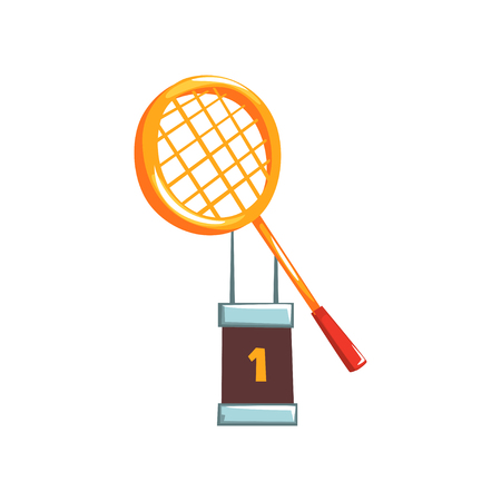 Illustration of champion golden trophy with tennis racket. First place. Winners cup of sport competition in cartoon flat style. Creative icon design. Vector illustration isolated on white background.