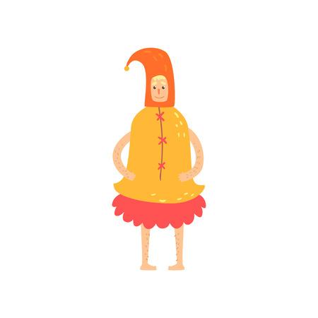 面白いベル衣装、気紛れな仮面舞踏会やカーニバルの衣装、白い背景にクレイジー スタイル漫画ベクトル図で創造的な党フリーク男文字  イラスト・ベクター素材