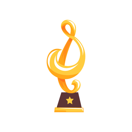 Golden statue of treble clef on brown base. Music award trophy in cartoon flat design. Musical note