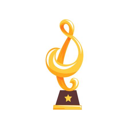 Gouden standbeeld van g-sleutel op bruine basis. Muziek award trofee in cartoon platte ontwerp. Muziek noot