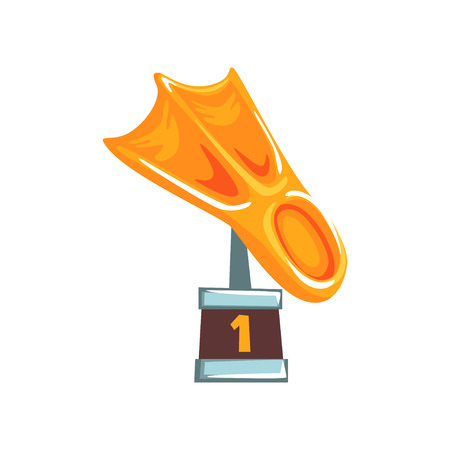 Cartoon golden trophy in form of fin on brown base. Bright figurine for winner in underwater sports. Vector illustration