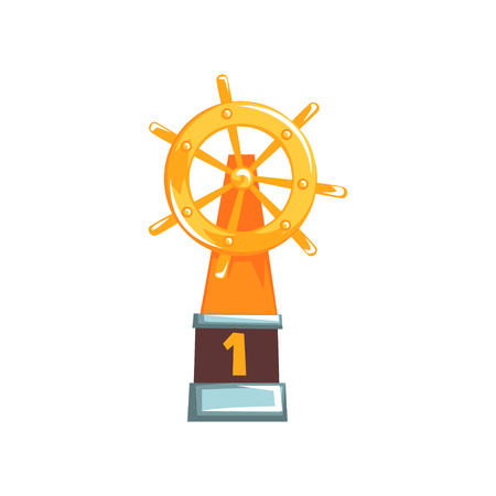 Cartoon illustration of ships steering wheel trophy on brown base. Regatta champion. First place winner golden award. Helm icon. Miniature souvenir. Flat design vector isolated on white background.