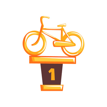 Cartoon golden trophy with bicycle on brown base in flat design. Winner award of cycling race 向量圖像