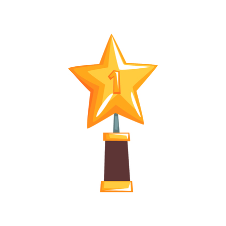 Shiny star trophy on brown base. Golden grand prize for champion in flat design. Vector illustration