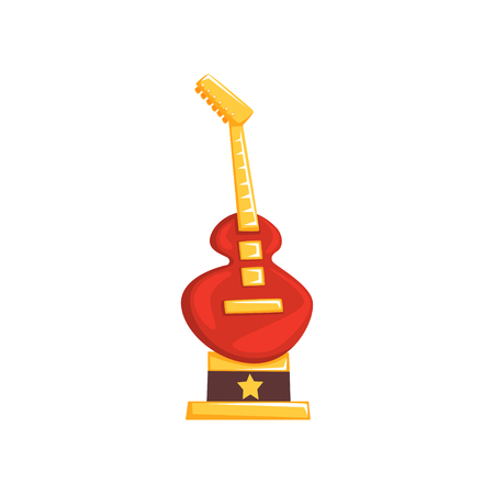 Cartoon music award in form of electric guitar. Shiny rock star trophy. Best musician award. Souvenir for winner of musical competition. Vector illustration in flat design isolated on white background