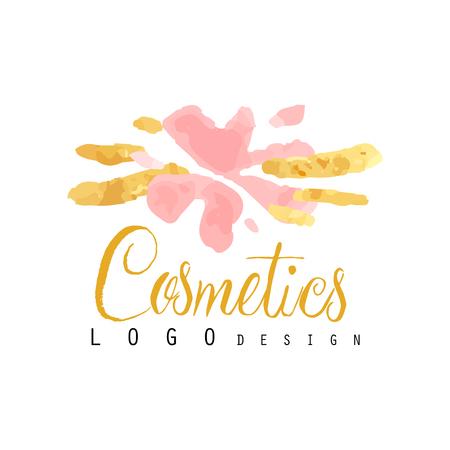 Delicate logo design for cosmetics shop or boutique. Hand drawn vector illustration for make up artist, natural products, spa, beauty center. Illusztráció