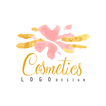 Delicate logo design for cosmetics shop or boutique. Hand drawn vector illustration for make up artist, natural products, spa, beauty center. Illustration