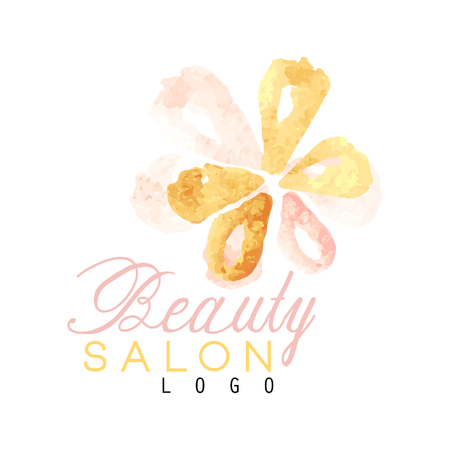 Beauty salon original logo design with delicate textured flower. Label with gentle colors. Hand drawn vector illustration