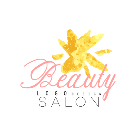 Delicate logo original design for beauty salon or center with abstract golden flower. Label with gentle colors.