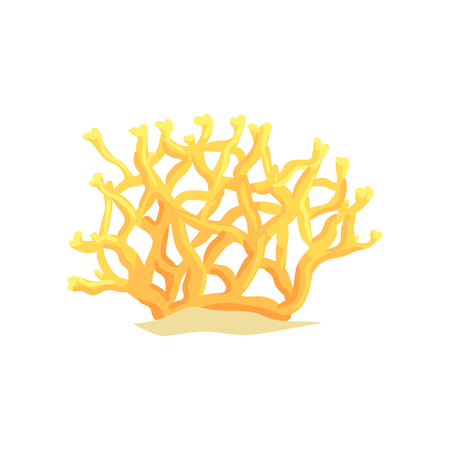 Yellow tropical underwater plant. Bright coral on sandy ocean bottom. Marine life concept Reklamní fotografie - 90108934