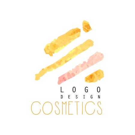 Abstract textured logo original design for cosmetics shop or boutique. Label with gentle colors. Beauty salon emblem concept.