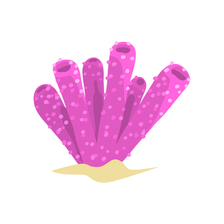 Beautiful purple sponge coral in tube or vase shape. Aquatic plant from tropical reefs. Sea and ocean wildlife concept