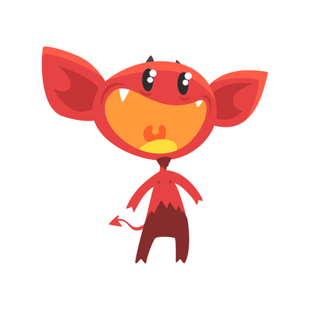 Cartoon flat vector illustration of devil with little horns, big ears, tail and shiny eyes. Red demon with pleasantly surprised face expression