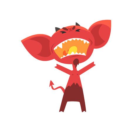 Woedende rode duivel met hoorns, grote oren en staart. Fictief personage uit de hel in vlakke stijl