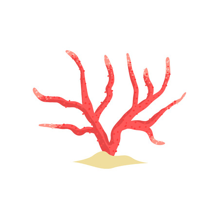 Red antler soft coral on sandy seabed. Tropical plant in flat style. Object for underwater world design