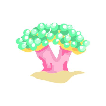 모래 바다 밑바닥에 거품 산호의 플랫 디자인 일러스트 레이 션. 아름다운 수중 세계 개념