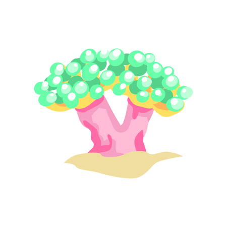 Flat design illustration of bubble coral on sandy ocean bottom. Beautiful underwater world concept