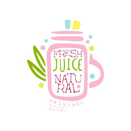 decanter: Natural fresh juice logo template, drinks label, eco product badge, menu element, colorful hand drawn vector Illustration