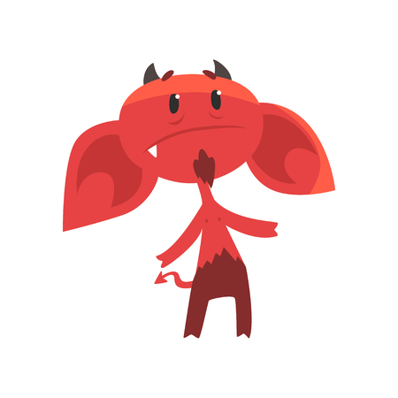 Upset devil character with big drooping ears, horns, tail and beard. Comic red demon in flat style Illustration