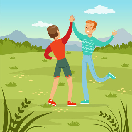 and two friends: Two happy best male friends meeting on a nature background, young people having fun, friendship concept vector Illustration