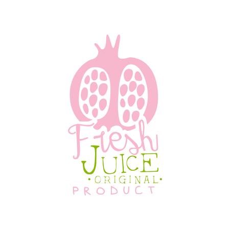 Fresh juice original product logo template, pomegranate juice label, eco product element, colorful hand drawn vector Illustration