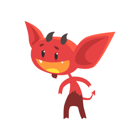 Flat vector of funny little devil with interested facial expression isolated on white. Comic fictional demon character with horns, tail and big ears