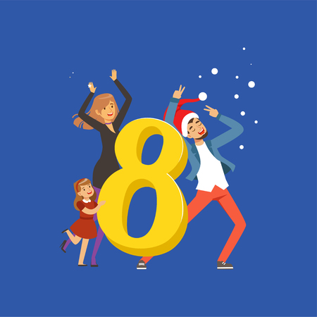 Number eight and happy family celebrating New Year vector illustration