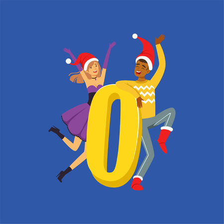 Number Zero and happy people in red Santa hats celebrating New Year vector illustration Illustration