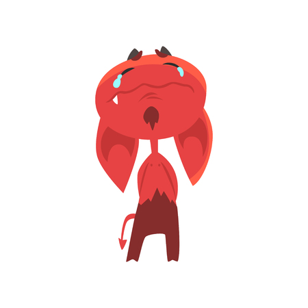 Crying cartoon devil with big drooping ears, horns and tail isolated on white. Flat vector design of red demon with tears on face
