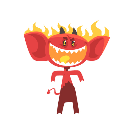 Cartoon flaming fire devil isolated on white. Angry red monster character with shiny eyes, big ears, horns and tail