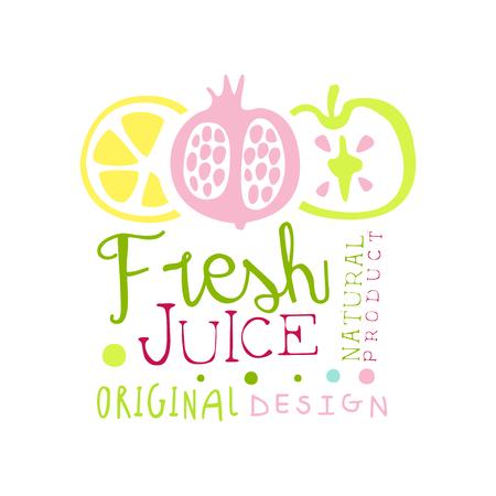 Fresh juice natural product original design logo template, multifruit juice label, eco product element, colorful hand drawn vector Illustration