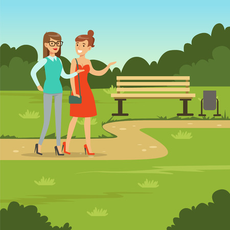 Two female friends walking in the park, friendship concept vector Illustration, web banner