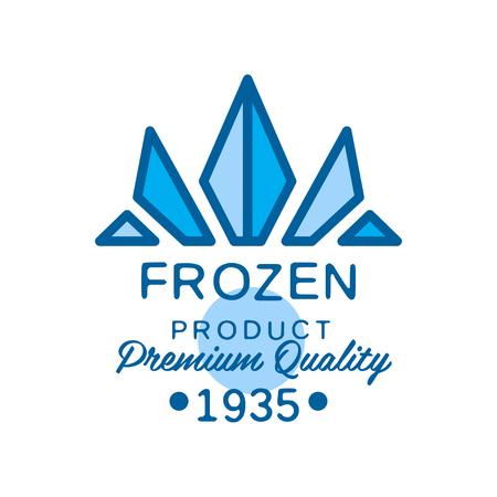 Bevroren product premium kwaliteit sinds 1935, abstract label voor het bevriezen vector illustratie