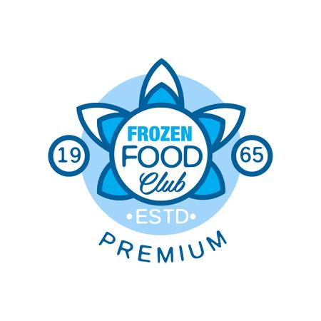 Frozen food club premium estd 1965, abstract label voor het bevriezen van vector illustratie