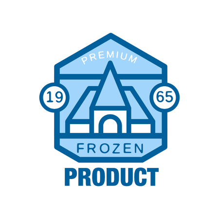 Frozen product premium since 1965, abstract label for freezing vector Illustration