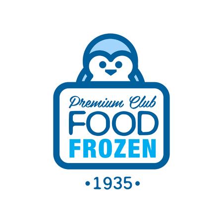 Premium club food frozen since 1935, label for freezing with penguin vector Illustration Иллюстрация