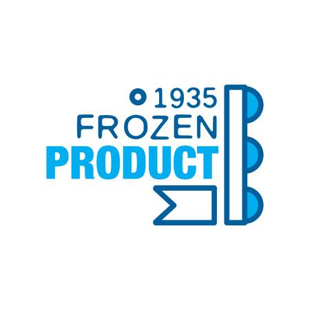 Bevroren product sinds 1935, abstract etiket voor het bevriezen van vector illustratie Stockfoto - 89730103