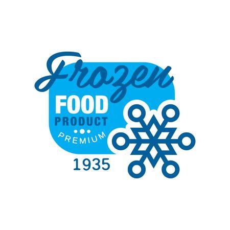 1935 년 이후 냉동 식품 제품 프리미엄, 눈송이 기호 벡터 일러스트와 함께 스티커