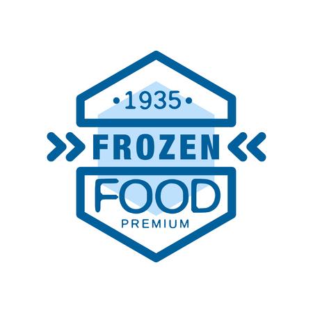 Bevroren voedselpremie sinds 1935, abstract etiket voor het bevriezen van vectorIllustratie