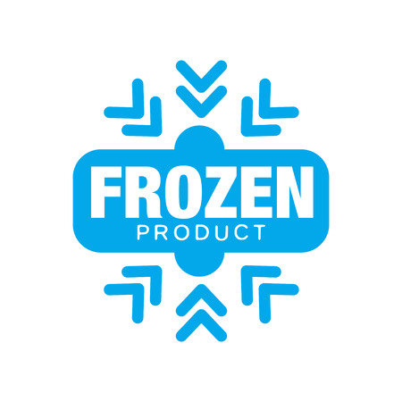Frozen product, sticker for food with snowflake sign vector Illustration Иллюстрация