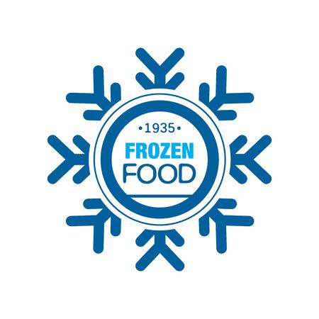 Bevroren voedsel sinds 1935, abstract etiket voor het bevriezen met sneeuwvlok vector illustratie Stockfoto - 89730106