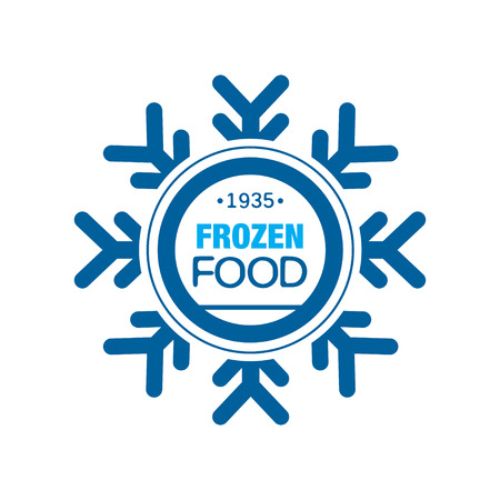Frozen food since 1935, abstract label for freezing with snowflake vector Illustration Иллюстрация
