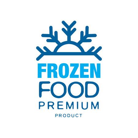 냉동 식품 프리미엄 제품, 눈송이 벡터 일러스트와 함께 동결에 대 한 레이블
