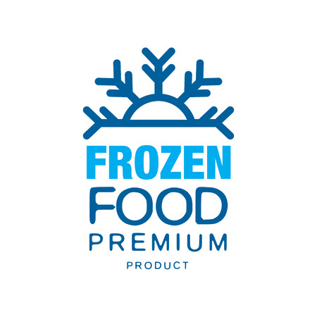 Frozen food premium product, label voor bevriezing met sneeuwvlok vector illustratie