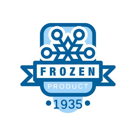 Bevroren product sinds 1935, sticker voor voedsel met sneeuwvlok teken vector illustratie