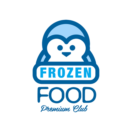냉동 식품 프리미엄 클럽, 펭귄 벡터와 동결에 대 한 레이블 그림 일러스트