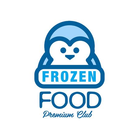 Frozen food premium club, label for freezing with penguin vector Illustration